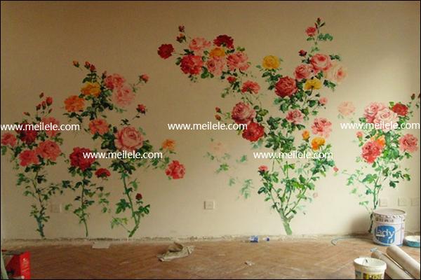 家装手绘墙画的材料:各色环保涂料、毛笔、排笔、粉笔、铅笔、涮笔