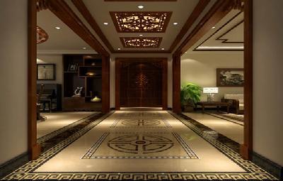 装修效果图欣赏:250平米中式风格四居室-中国搜索